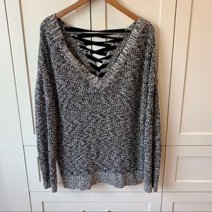 Love & Legend Chunky Sweater with lace-up back